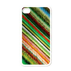 Colorful Stripe Extrude Background Apple Iphone 4 Case (white)