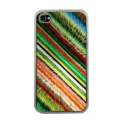 Colorful Stripe Extrude Background Apple iPhone 4 Case (Clear)