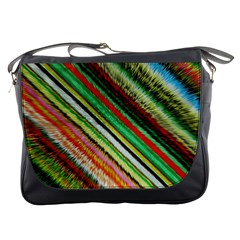 Colorful Stripe Extrude Background Messenger Bags