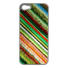 Colorful Stripe Extrude Background Apple iPhone 5 Case (Silver)