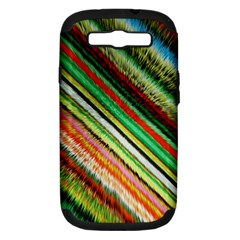 Colorful Stripe Extrude Background Samsung Galaxy S III Hardshell Case (PC+Silicone)