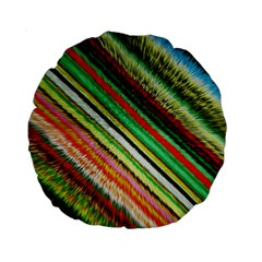 Colorful Stripe Extrude Background Standard 15  Premium Round Cushions