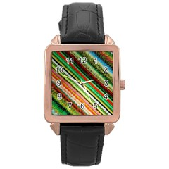 Colorful Stripe Extrude Background Rose Gold Leather Watch