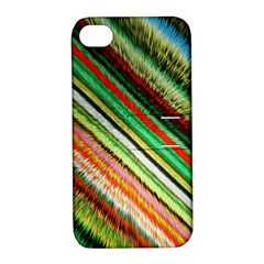 Colorful Stripe Extrude Background Apple iPhone 4/4S Hardshell Case with Stand