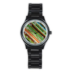 Colorful Stripe Extrude Background Stainless Steel Round Watch