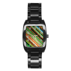 Colorful Stripe Extrude Background Stainless Steel Barrel Watch