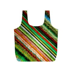 Colorful Stripe Extrude Background Full Print Recycle Bags (S)