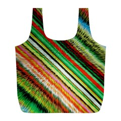 Colorful Stripe Extrude Background Full Print Recycle Bags (L)