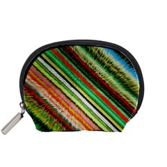 Colorful Stripe Extrude Background Accessory Pouches (Small)