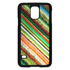 Colorful Stripe Extrude Background Samsung Galaxy S5 Case (Black)
