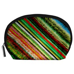 Colorful Stripe Extrude Background Accessory Pouches (Large)