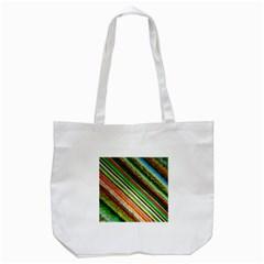 Colorful Stripe Extrude Background Tote Bag (White)