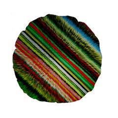Colorful Stripe Extrude Background Standard 15  Premium Flano Round Cushions