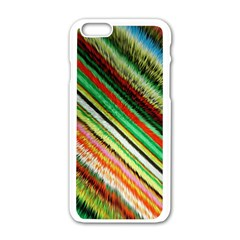 Colorful Stripe Extrude Background Apple iPhone 6/6S White Enamel Case