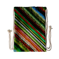 Colorful Stripe Extrude Background Drawstring Bag (Small)