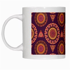 Abstract Seamless Mandala Background Pattern White Mugs