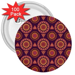 Abstract Seamless Mandala Background Pattern 3  Buttons (100 pack)