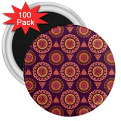 Abstract Seamless Mandala Background Pattern 3  Magnets (100 Pack)