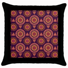 Abstract Seamless Mandala Background Pattern Throw Pillow Case (Black)
