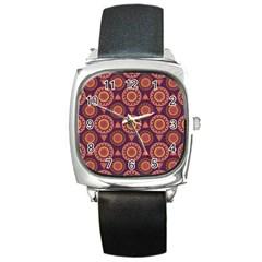 Abstract Seamless Mandala Background Pattern Square Metal Watch