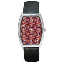 Abstract Seamless Mandala Background Pattern Barrel Style Metal Watch