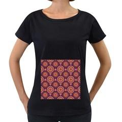 Abstract Seamless Mandala Background Pattern Women s Loose-Fit T-Shirt (Black)