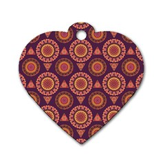 Abstract Seamless Mandala Background Pattern Dog Tag Heart (One Side)