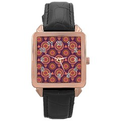 Abstract Seamless Mandala Background Pattern Rose Gold Leather Watch