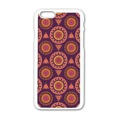 Abstract Seamless Mandala Background Pattern Apple iPhone 6/6S White Enamel Case