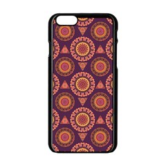 Abstract Seamless Mandala Background Pattern Apple iPhone 6/6S Black Enamel Case