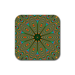 Vibrant Seamless Pattern  Colorful Rubber Square Coaster (4 Pack)
