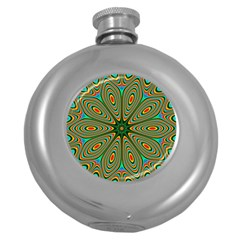 Vibrant Seamless Pattern  Colorful Round Hip Flask (5 oz)