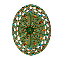 Vibrant Seamless Pattern  Colorful Oval Filigree Ornament (Two Sides)