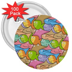 Fishes Cartoon 3  Buttons (100 Pack)