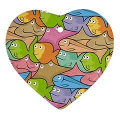 Fishes Cartoon Heart Ornament (two Sides)