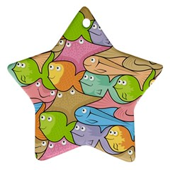 Fishes Cartoon Star Ornament (Two Sides)