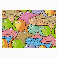 Fishes Cartoon Large Glasses Cloth