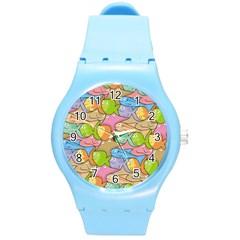 Fishes Cartoon Round Plastic Sport Watch (M)