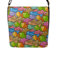 Fishes Cartoon Flap Messenger Bag (l)