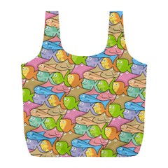 Fishes Cartoon Full Print Recycle Bags (L)