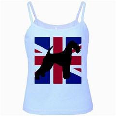 airedale terrier silhouette on flag Baby Blue Spaghetti Tank