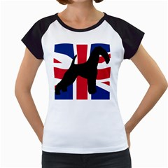 airedale terrier silhouette on flag Women s Cap Sleeve T