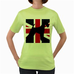 airedale terrier silhouette on flag Women s Green T-Shirt