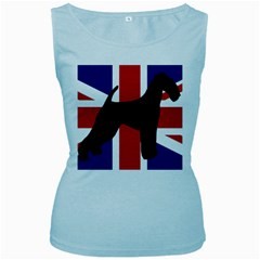 airedale terrier silhouette on flag Women s Baby Blue Tank Top