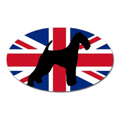 airedale terrier silhouette on flag Oval Magnet