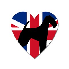 airedale terrier silhouette on flag Heart Magnet