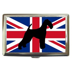 airedale terrier silhouette on flag Cigarette Money Cases