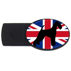 airedale terrier silhouette on flag USB Flash Drive Oval (2 GB)
