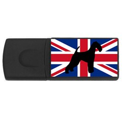 airedale terrier silhouette on flag USB Flash Drive Rectangular (2 GB)