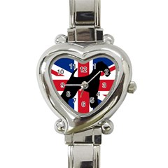 airedale terrier silhouette on flag Heart Italian Charm Watch